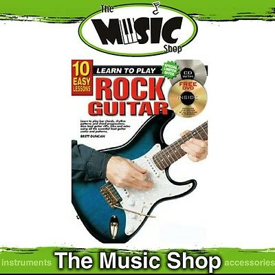 New 10 Easy Lessons Learn to Play Rock Guitar Music Tuition Book with CD & DVD