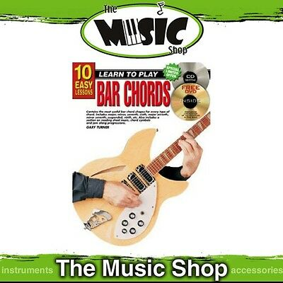 New 10 Easy Lessons Learn to Play Bar Chords Guitar Music Book with CD & DVD