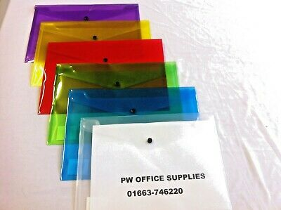 Plastic Document Folders  Wallets Various A5,a4,a3 Sizes And Colour Stud Closing