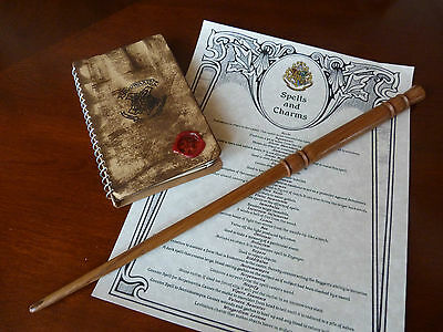 Hogwarts Note Book & Hermione Granger Magic Wand,List of Spells.Harry Potter