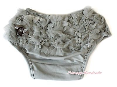 Infant Toddler Baby Gray Ruffles Underwear Bloomer Pantie Brief For Skirt 6m-3Y