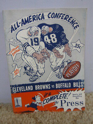 Vintage 1948 AAFC Championship Program Cleveland Browns 15-0 Season