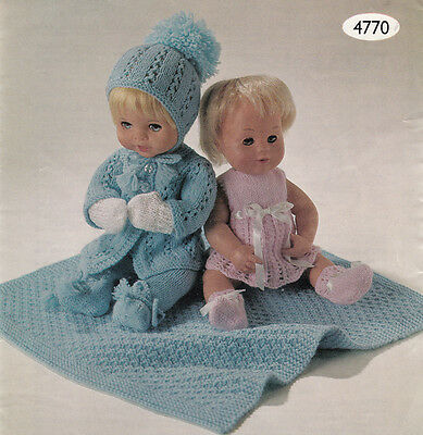 """Lovley baby Dolls Knitting pattern- 2 outfits +shawl for 12-16"""" dolls- 4 ply +DK"""