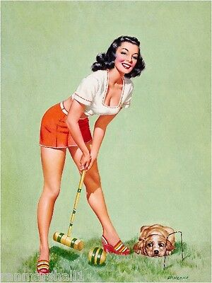 1940s Pin-Up Girl Cocker Spaniel Puppy Dog Croquet Picture Poster Print Art