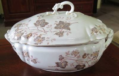 TRANSFERWARE TUREEN Aesthetic Antique Brown Red Floral Painted Serving Dish ~NR
