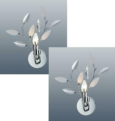 Willow Leaf Wall Light Polished Chrome Single Bulb Lamp Fitting PAIR