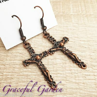 ER2743 Graceful Garden Copper Tone Jesus Christ on Cross Crucifix Charm Earrings