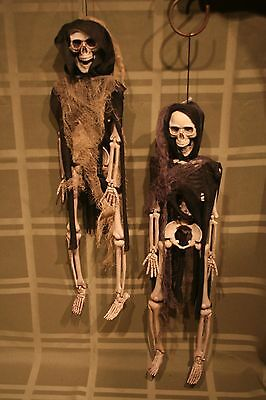 """(2) Scary Halloween Hanging Skeletons Resin w/ Fabric Clothing 17"""" tall Indoor"""