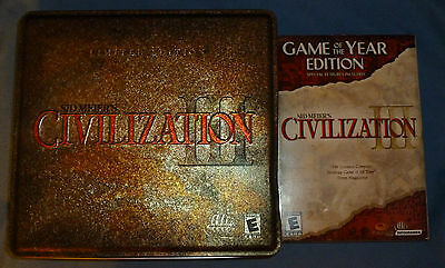 Sid Meier's Civilization III Limited Edition Metal Tin PC Video Game