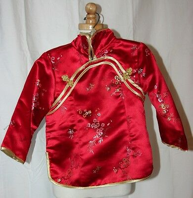 SILK RED CHINESE JACKET CHILD Costume (Size 2) Perfect for CHINESE NEW YEAR
