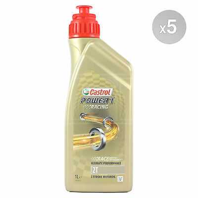 Castrol Power 1 Racing 2T Fully Synthetic 2T Motorcycle Oil - 5 Litres: 5 x 1L