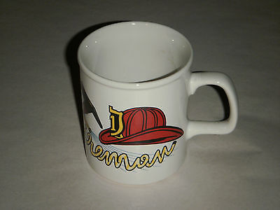 Geo. Z. Lefton China Fireman Coffee Cup 1984 Ax Hose Helmet 04342 Hand Painted