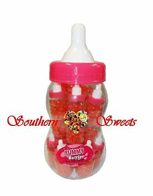 Big Pink Baby Bottle & 20 Mini Baby Bottles Jelly Beans Lollies Candy Buffet