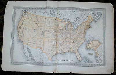 Antique 1875 Map United States of America USA