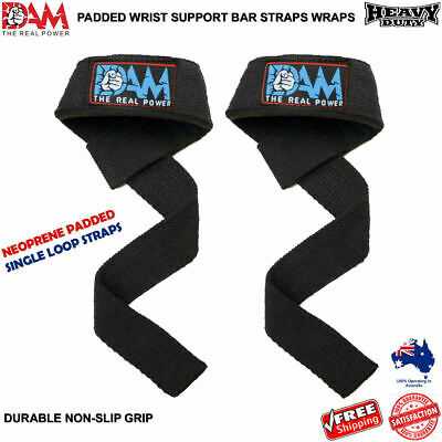 DAM Single Loop Weight Power Lifting Straps Gym Wrist Support Strength Training