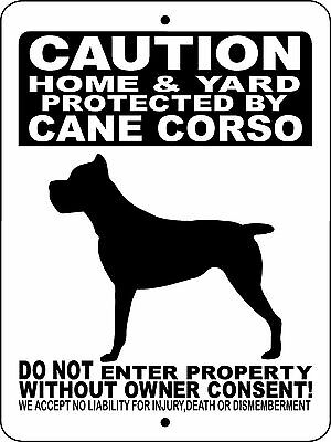 "CANE CORSO DOG SIGN, Guard Dog,9""x12"" Aluminum Sign,Gate Sign,Dog Sign,2496CCBK"