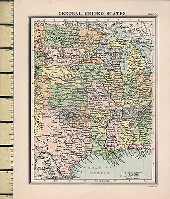 c1860 VICTORIAN MAP ~ CENTRAL UNITED STATES