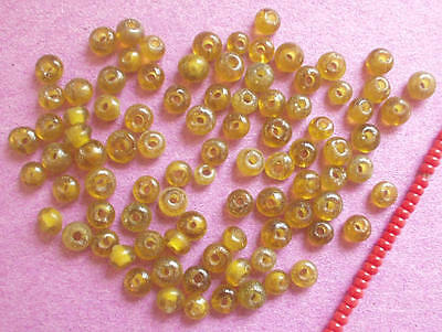 75+ CLASSIC AMBER BROWN 4mm ANTIQUE GLASS BEADS LOT