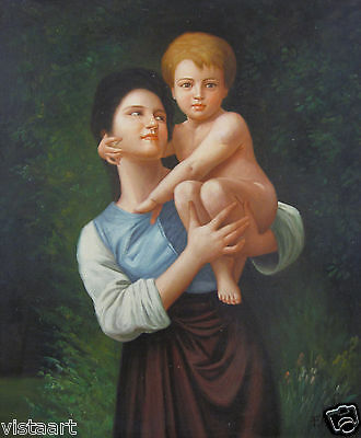 "High Quality Hand Painted Oil On Canvas 20""x24"" ~Mother and Child~"