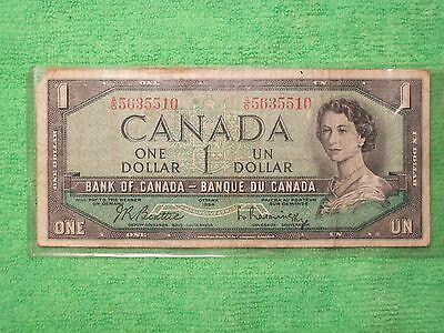 1954 One Dollar Canadian Bank Note