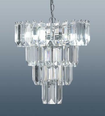 4 Tier Prism Chandelier Ceiling Light Fitting Crystal Effect Droplets Chrome