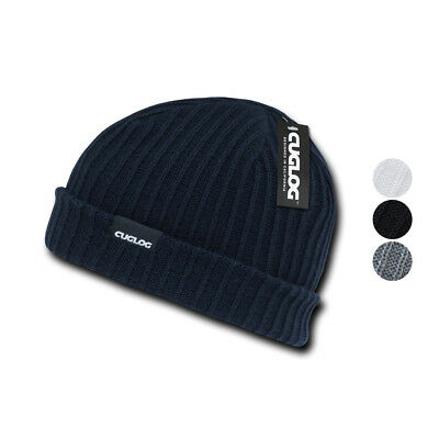 Cuglog Beanies Sailor Cuffed Cable Rib Double Knit Skull Cap Warm Winter