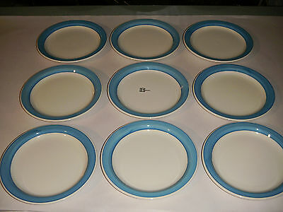 "LOT OF 9 NEW BUFFALO 9809A CHINA 7"" DISHES .75"" BLUE TURQUOISE TRIM 1980-PRESENT"