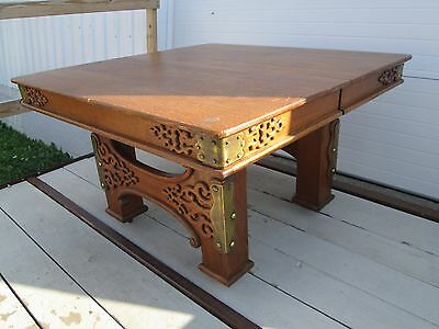 Antique Quartersawn Oak Table w/Brass Button Accents & Fancy Oak Cut-Outs