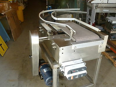 "Stainless Steel Conveyor 24"" by 12"" Plastic Link with 90-degree Outfeed"