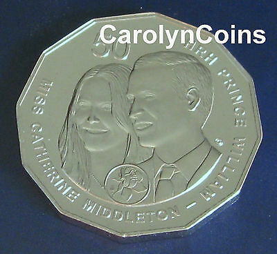 50c Coin 2011 Royal Wedding Catherine Middleton & Prince William Australian 50c