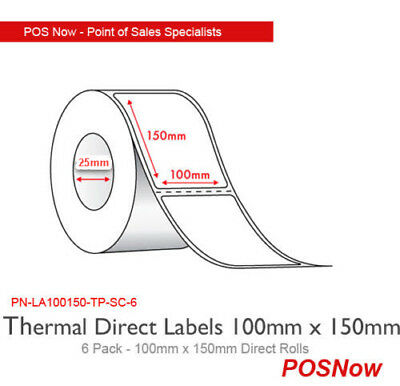 100mm x 150mm Direct Thermal Labels for Zebra Printers (6 Pack)