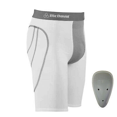 McDavid 7212YC White Vented Sliding Shorts With Cup Pocket Youth Medium