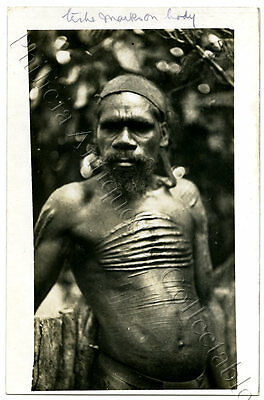 C1910 Rp Npu Scarce Postcard Tribal Aboriginal Man With Initiation Scars A21