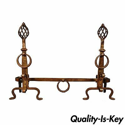 Antique Hand Wrought Iron Mission Style Andirons Gilt Bronze Finish Yellin Era