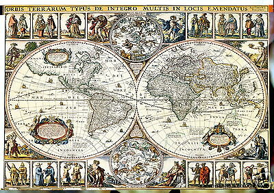 vintage  WORLD map  GLOBE ATLAS POSTER PRINT ANTIQUE OLD