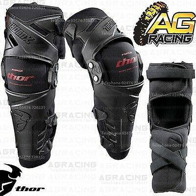 Thor Black Force Knee Guards Adult Protection Small/Medium S/M Motocross Enduro