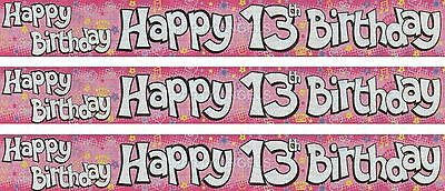 13Th Birthday/ Age 13 Pink With Stars And Flowers Foil Wall Banners (Ex)