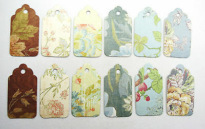 Vintage Floral #2 -  Lot of 12, 24 pieces Scallop Hang Tags, Gift Tags Fast Ship