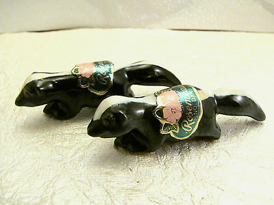"North Dakota Rosemeade Pottery 3/4"" Miniature Skunk Figurines NICE!"