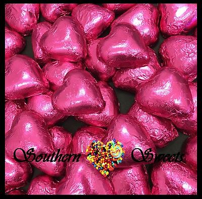 1Kg Pink Foiled Hearts Milk Chocolate Choc Candy Buffet Pink Lollies Foil Bulk