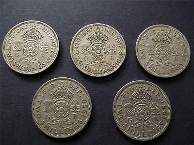 Two shillings 1947,1948,1949,1950,1951 George 6th a pack of 5 coins FREE UK POST
