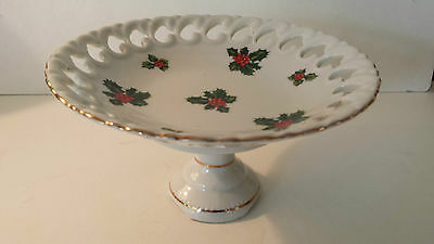 Vintage Lefton Christmas Holly Berry Pedestal Tidbit Serving Dish CANDY BOWL