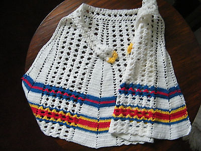 Beautiful Handmade Crocheted Childs Apron White Red Blue Yellow CUTE