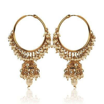 White hoop pearl earrings with a small jhumki, ethnic Indian hand-made jewelry