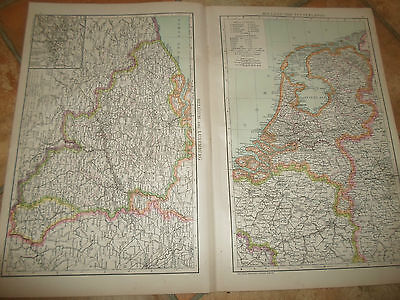 Old Maps BELGIUM+LUXEMBURG+HOLLAND (NETHERLANDS)  From The Universal Atlas 1893