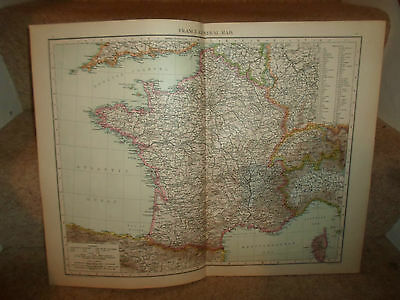 Old Map FRANCE (GENERAL MAP) ~ Taken From The Universal Atlas 1893