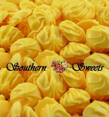 1kg CARAMEL SWIRL BUDS YELLOW LOLLIES CHOCOLATE VINTAGE CANDY BUFFET BULK CHOC