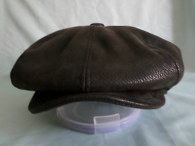 Black Faux Leather 1920,s 1930,s Victorian Edwardian Peaky Blinders Cap