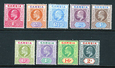 Gambia SC# 29-37 (SG# 46-54) MH (9) stamp Edward VII Set Issued in 1902-05