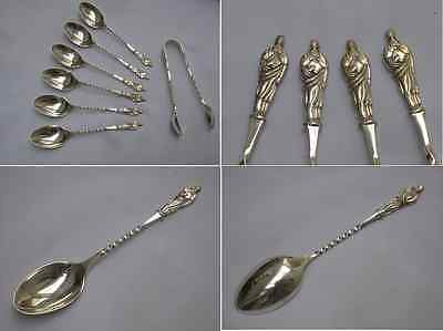 Stunning Cased Edwardian 1903 English Antique Sterling Apostle Spoons & tongs